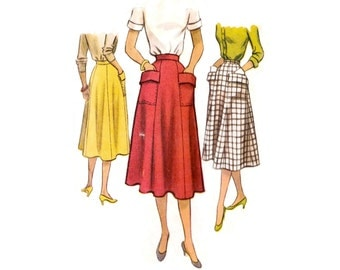 1950s Skirt Pattern McCall 8494, 4 Gore Flared Skirt, Large Patch Pockets with Fold-Over Flaps, 1951 Vintage Sewing Pattern, Waist 24