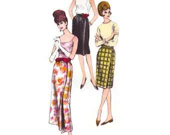 1960s Skirt Pattern Vogue 5972, Wrapped Front Slim Skirt, Evening or Street Length, Easy to Make, Vintage Sewing Pattern Waist 26 Uncut