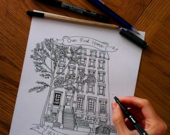 Custom Pen and Ink House Portrait.Ink Sketch of your House.Custom House Drawing. Housewarming/ Anniversary/Wedding/ New HomeGift