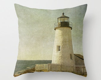 Pemaquid Lighthouse, Throw Pillow, Photo Pillow, Home Decor, Maine, Photography