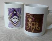 Vintage Starbucks mugs, coffee varietal, 80's, gold, Set of 2