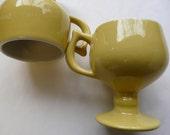 Caribe Pedestal mug, 60s yellow, YELLOW, vintage restaurant ware. retro amazing, set of 4