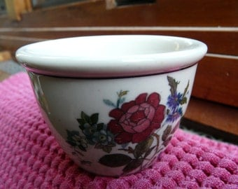 Buffalo China, Ye Olde Ivory, Marian, custard cup, egg cup, vintage restaurant ware, diner, floral