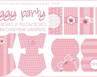 PIg Party Favors Printable PDF - Printable Party Supplies - Pink Piggy Birthday Party DIY