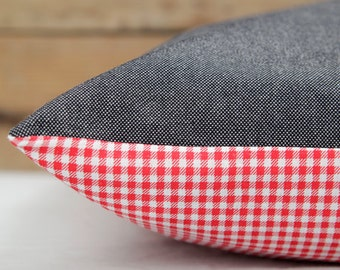 Canvas & Checkers Dog Bed Cover / Designer Pet Bed
