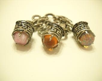 Vintage Caged Cabochon Charm Bracelet (1473)