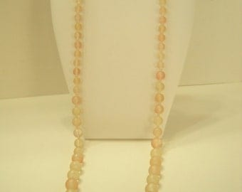 "Vintage 30"" Pale Pink & Green Frosted Beaded Necklace (5047) 7mm-14mm"