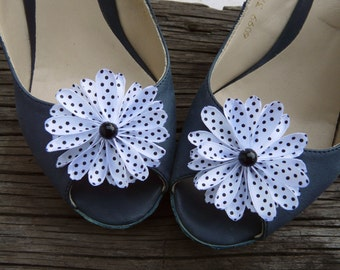 White Shoe Accessory, Bride Shoe Clip, Cute Shoe Flowers, Black and White Shoe Clips, White Polka Dot Shoe Clips