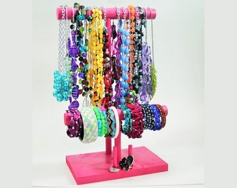 Jewelry Organizer - The Executive - Square Stand - Necklace Bracelet & Ring Holder - 30 Color Choices!