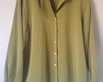 Mustard Green Boxy Blouse with LaceCollar and Cuffs