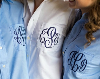 Bride Shirt - Personalized Bridal Party Shirt - Monogrammed Button Down Wedding Shirt