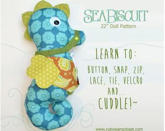 Sale! 2 PATTERN COMBO SeaBiscuit Doll and Fishy Friends PDF pattern Fine Motor Skills Learning 22'' Doll Pattern