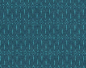 Turquoise Geometric Upholstery Fabric for Furniture - Turquoise Woven Pillow Cushion Covers - Small Scale Headboard Fabric