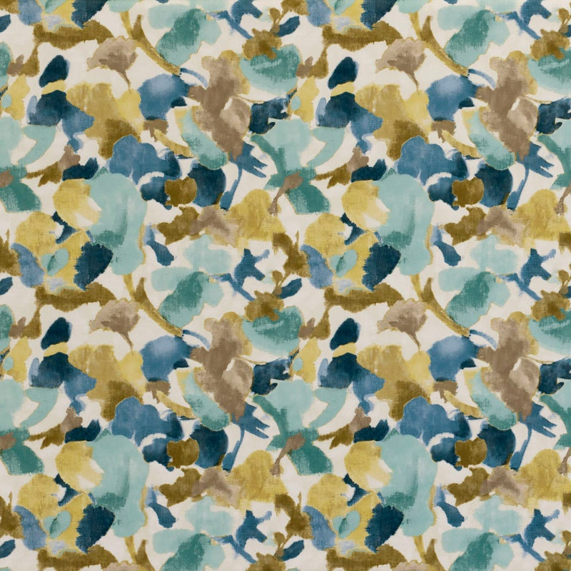 Navy Blue Yellow Floral Velvet Upholstery Fabric Navy Blue