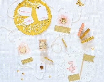SALE Mini Gift Wrap Kit Coral Gold Paper Kit