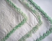 Set of 3 Vintage Handkerchiefs with Green Crocheted Edges, c. 1930s, St. Patrick's Day Accessories, Shabby Chic Decor, Easter & Spring Decor