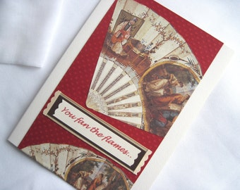 Fanning the Flames of Desire Valentine's Day Card, European and Asian Fan Card made from Italian Papers, 5 x 7