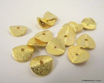 Wavy Gold Rondelles, Spacer Beads, Textured Wavy Rondelle, 10 x 2.5mm, 30 Pieces