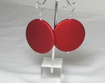 Crimson Red Earrings Game Day Jewelry Polka Dot Retro