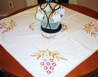 French Country Hand Embroidered Tablecover circa 1960s