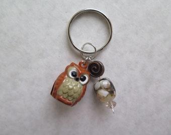 Owl bell keychain