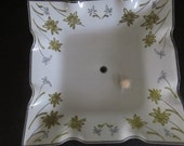 Vintage White and Gold Floral Glass Light Fixture Cover