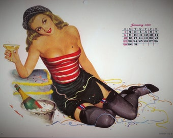 1950 JANUARY Calendar Page from Esquire Girl Calendar Pinup Pin up Girl artist Al Moore w Champagne Gift