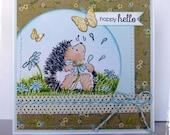Handmade Greeting Card - Happy Hello - Penny Black Hedgehog, cute animal by HoneyblossomDesgins