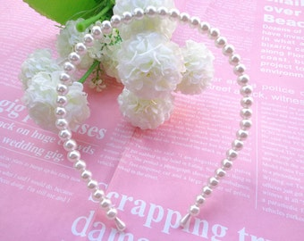 SALE-- 20 PCS 8mm Ivory white pearl headband