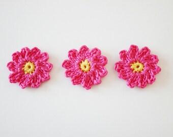 crochet pink flower applique - flower motif - pink flower