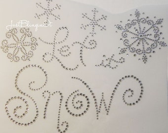 Christmas Let it Snow Hot Fix Iron On Rhinestone Transfer Bling