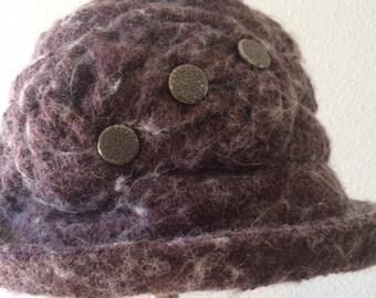 """Handmade """"Joan"""" Cloche Hat Wool Boucle in Plum"""