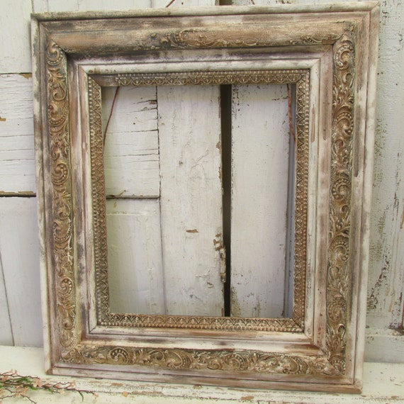 Large Distressed Wall Decor : Distressed frame large farmhouse wood and gesso antique wall