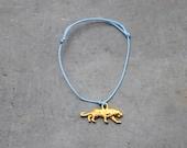 Tiger cord bracelet lavender / charm bracelet for women