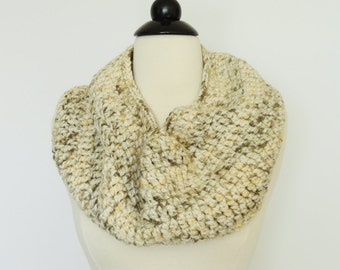 Crochet Cowl Scarf Neckwarmer Fashion Scarf Cream Brown, Womens Accessories, Gift For Her, Circular Scarf, Handmade Scarf, Ladies Scarves