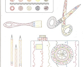 Clover Sunshine Crafts - Alison Glass Hand Embroidery Pattern - Re-usable Iron On Embroidery Pattern