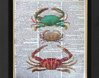 Lovely Crab Art Print-Crab Marine Life Print- Mixed Media Print  8x10 Vintage Dictionary page, Dictionary art, Dictionary print