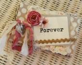 Shabby Wedding Scrapbook, Mini Photo Booth Album, Fairytale Wedding, Rustic Wedding, Woodland Wedding, Shabby Vintage, Brown Black Pink