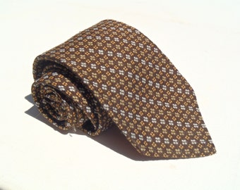 Vintage 1970s Brown Polyester Tie with Gold and Tan Neats from Sears Mens Store
