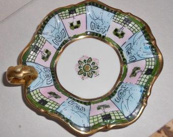 Noritake Nippon Candy Dish 1911 Antique Art Nouveau Moriage and beaded Japanese Samurai Free USA Shipping