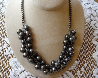 Gray Metalic Faux Pearl Cluster Necklace on Gunmetal Chain
