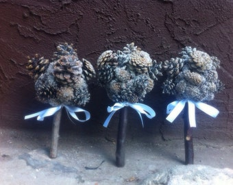 Winter Pine Cone Bouquet Bridesmaids Frosted Glitter Rustic Forest Wedding