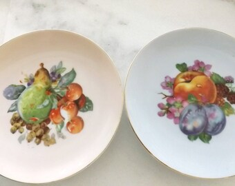 Vintage Decorative Hand Painted Plates by Walis China, Decorative Fruit Plates, Wall Plates, Vintage Wall Decor