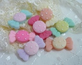 7 pcs Pokka Dot Wrapped Candy Cabochons, Assorted Color/Mixed Wrapped Sweet Cabochons, Decoden Cabochons  C060