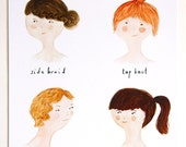 "Girls' Hairdos print 8""x10"" featuring sidebraid, top knot, finger waves and pony tail"