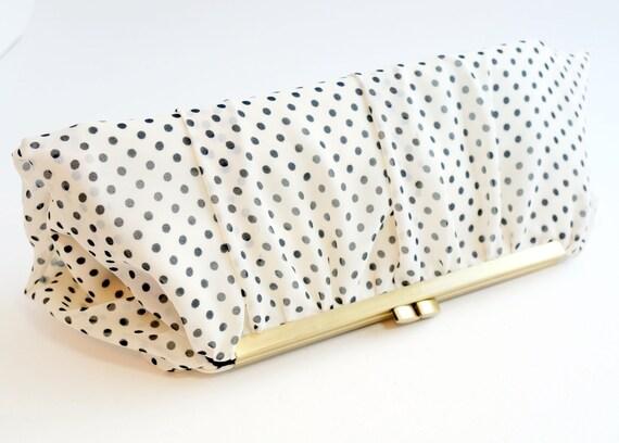 Black & Ivory Polka Dot Clutch Purse - Wedding/Bridesmaid/Evening Handbag - Vintage Style - Includes Crossbody Chain - Made to Order