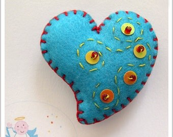 Be my Valentine. Blue Heart Brooch.