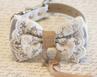 Gray Dog Bow Tie, Lace and Burlap, Dog ring bearer, Vintage wedding, Rustic, Bohemian, Proposal idea