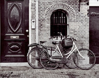 Bicycle Photography, Black and White, Amsterdam, Bike Photography Print, Street Art, Architecture Art, Europe, Bicycle Wall Art