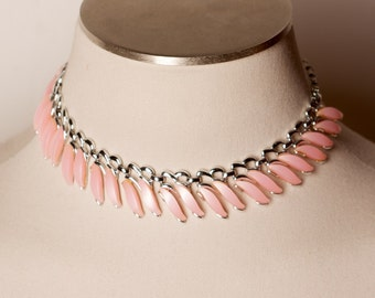 Vintage Pink Thermoset Lucite Necklace by Claudette